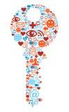 Simbolo chiave con struttura delle icone di media Immagine Stock Libera da Diritti
