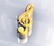Simbolo chiave di musica in oro - 3D Fotografia Stock