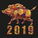 simbolo chineese di anno 2019 illustrazione di stock