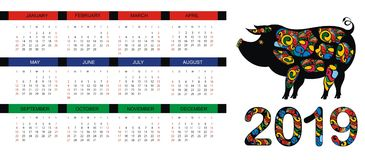 Simbolo cinese dei 2019 anni Calendario con il maiale Fotografia Stock Libera da Diritti