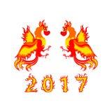 Simbolo cinese 2017 del nuovo anno di progettazione del gallo Fotografie Stock Libere da Diritti
