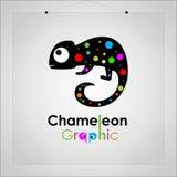 Simbolo circolare dell'emblema dell'icona di colori pieni del camaleonte elegante di logo - vettore illustrazione di stock