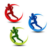 Simbolo circolare di forma fisica - siluetta del corridore Immagine Stock