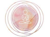Simbolo circolare di meditazione della mandala dell'acquerello Immagini Stock Libere da Diritti
