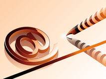 -simbolo con la penna del calcolatore. Immagini Stock