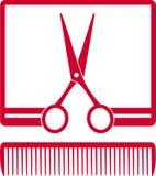 Simbolo con le forbici ed il pettine nel telaio Fotografie Stock Libere da Diritti
