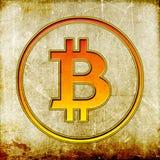 Simbolo d'annata di Bitcoin Fotografie Stock