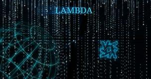 Simbolo d'ardore dell'AGNELLO di lambda contro i simboli di caduta di codice binario royalty illustrazione gratis