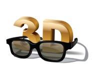 simbolo 3D con e vetri tridimensionali Elemento del manifesto del cinema di vettore Fotografia Stock