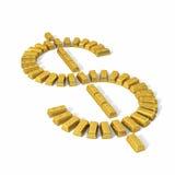 Simbolo dalle barre di oro, prospettiva del dollaro. illustrazione vettoriale