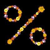 Simbolo decorativo di percentuale dai fiori di colore Fotografia Stock