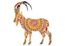 Simbolo decorativo ornamentale di vettore della capra illustrazione di stock
