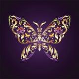 Simbolo decorato della farfalla con il reticolo floreale Immagine Stock Libera da Diritti