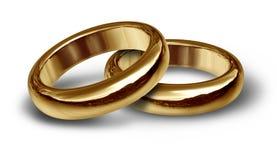 Simbolo degli anelli di cerimonia nuziale dell'oro Immagini Stock Libere da Diritti