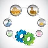 Simbolo degli ingranaggi e ciclo monetario delle icone Immagini Stock