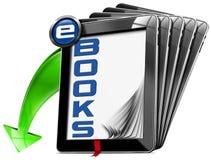 Simbolo dei libri elettronici con i computer della compressa Immagini Stock Libere da Diritti
