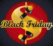 Simbolo dei soldi con le etichette per Black Friday, illustrazione di offerta di vettore Immagini Stock