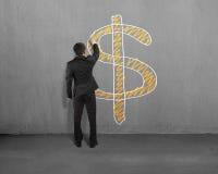Simbolo dei soldi del disegno sulla parete Fotografia Stock Libera da Diritti