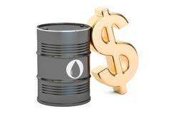 Simbolo del barile da olio e del dollaro, rappresentazione 3D Fotografia Stock