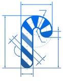 Simbolo del bastoncino di zucchero di Natale con le linee di dimensione Immagini Stock Libere da Diritti