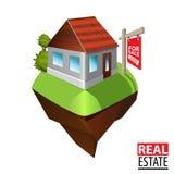 Simbolo del bene immobile - casa da vendere Fotografia Stock Libera da Diritti