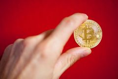 Simbolo del bitcoin dell'ultimo della moneta di oro di logo di Bitcoin della catena cripto del blocchetto del blockchain di tecno Fotografia Stock