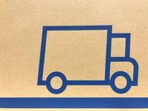 Simbolo del camion su cartone Fotografia Stock Libera da Diritti
