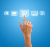 Simbolo del carrello di acquisto di stampaggio a mano Immagini Stock Libere da Diritti