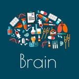 Simbolo del cervello umano con le icone mediche piane Fotografia Stock
