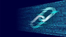 Simbolo del collegamento ipertestuale di Blockchain informazioni di flusso di dati di numero di codice binario su grandi Concetto royalty illustrazione gratis