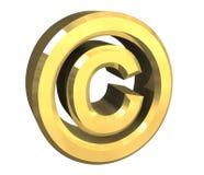 Simbolo del copyright in oro (3d) Fotografie Stock Libere da Diritti