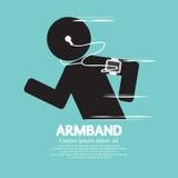 Simbolo del corridore che indossa il bracciale di Smartphone Fotografia Stock Libera da Diritti