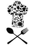 Simbolo del cuoco unico con il cucchiaio ed il coltello Fotografie Stock