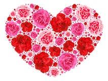 Simbolo del cuore dai fiori eterogenei su bianco Fotografia Stock Libera da Diritti
