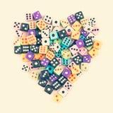 Simbolo del cuore dei dadi di gioco Immagine Stock Libera da Diritti