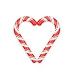 Simbolo del cuore della canna di caramella Fotografie Stock