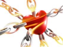 Simbolo del cuore di amore sulla catena illustrazione di stock