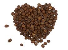 Simbolo del cuore fatto dei chicchi di caffè Fotografie Stock Libere da Diritti