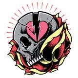 Simbolo del cuore rotto e del cranio con Rosa Fotografia Stock