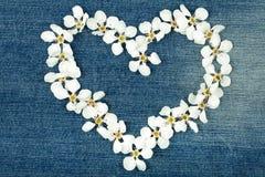 Simbolo del cuore sui jeans fotografia stock