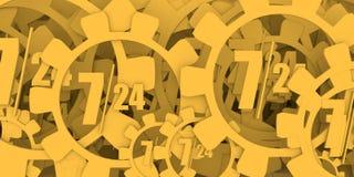 Simbolo 7, 24 del distintivo di sincronizzazione Fotografia Stock