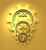 Simbolo 7, 24 del distintivo di sincronizzazione Immagine Stock Libera da Diritti