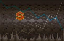 Simbolo del dollaro con grafico lineare discendente ed ascendente con volume su fondo nero e grigio Fotografia Stock