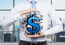 Simbolo del dollaro con i grafici a disposizione Fotografie Stock