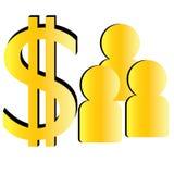 Simbolo del dollaro dell'oro Fotografia Stock