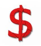 Simbolo del dollaro di Broked illustrazione di stock