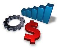 Simbolo del dollaro e ruota di ingranaggio Fotografia Stock Libera da Diritti
