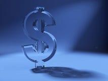 Simbolo del dollaro fatto di vetro Immagine Stock