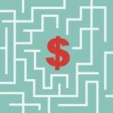 Simbolo del dollaro nel labirinto Immagini Stock Libere da Diritti