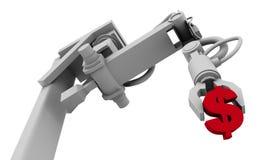 Simbolo del dollaro in pinsa del braccio del robot Fotografia Stock Libera da Diritti
